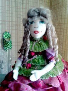 Прическа для текстильной куклы Пион.