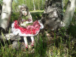 Текстильная цветочная кукла Пион.